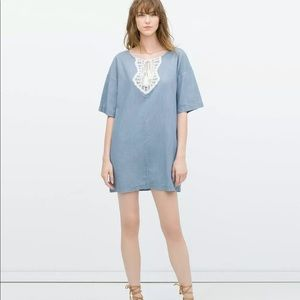 ZARA XS Kaftan Lace Bib Front Shirt Dress Denim